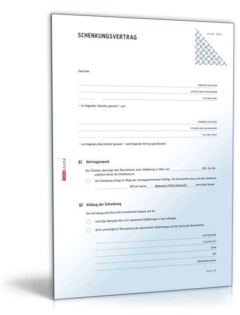 Schenkungsvertrag Auto by Schenkungsvertrag Geld Rechtssicheres Muster Zum Download