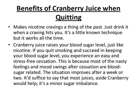 quit smoking mood swings using cranberry juice to stop smoking
