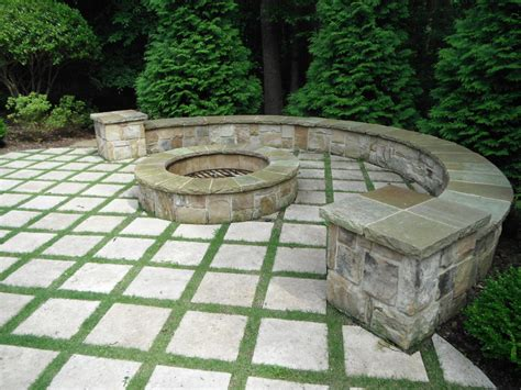flagstone patio with firepit square pit landscape contemporary with