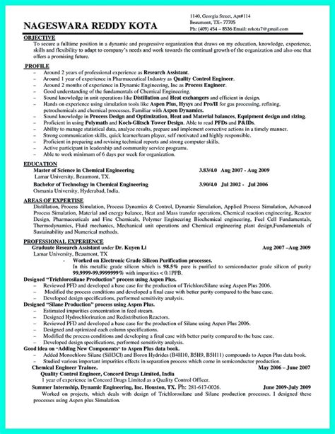 Engineering Resume Objective by Awesome Successful Objectives In Chemical Engineering
