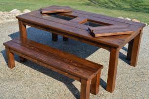 Patio Tables Remodelaholic Building Plans Patio Table With Built In Drink Coolers