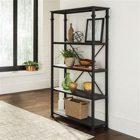 shop living grey black metal 4 shelf bookcase