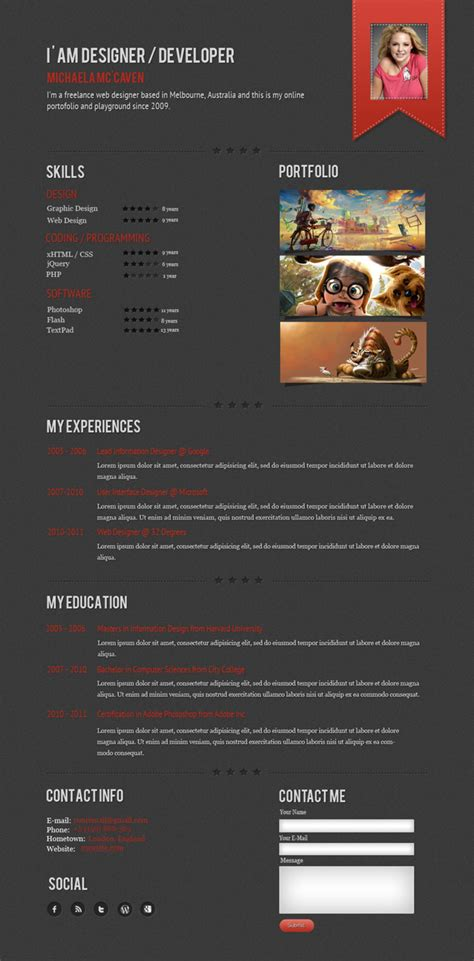 curriculum vitae web page design a few interesting resume cv website designs