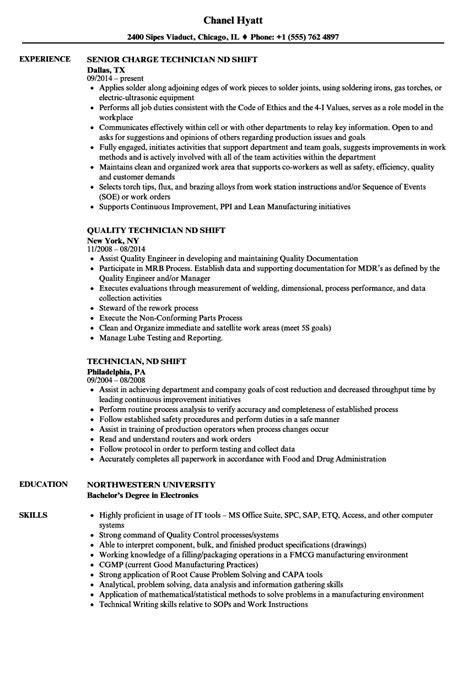 technician nd shift resume sles velvet