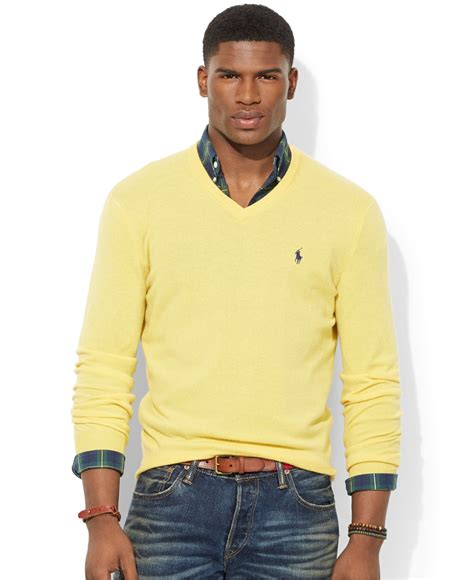 Sweater Polos lyst polo ralph loryelle merino wool v neck sweater in yellow for