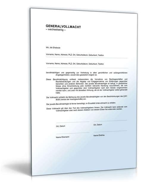 Bewerbung Ms Deutschland generalvollmacht f 252 r eheleute de vorlage