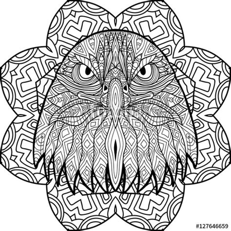 eagle mandala coloring pages quot zenart coloring book page for adults hand drawn figure