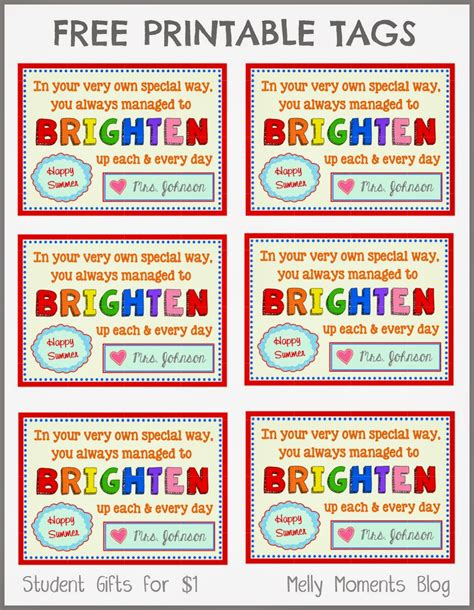 printable letter gift tags free end of year gift tag printables from teacher to