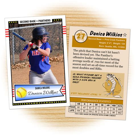 softball card template custom softball cards retro 50 series cards