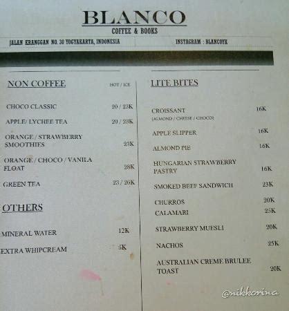Daftar Menu Coffee Bean blanco coffee books yogyakarta restaurant reviews phone number photos tripadvisor