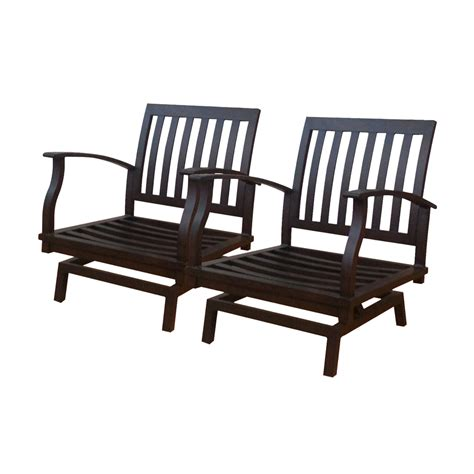 allen and roth outdoor furniture shop allen roth set of 2 gatewood brown aluminum slat patio motion at lowes