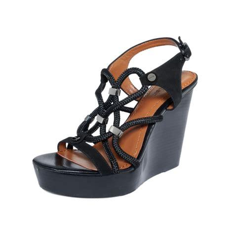 calvin klein wedge sandals lyst calvin klein ellis platform wedge sandals in black