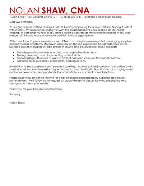 cover letter exle cover letter exles nursing assistant