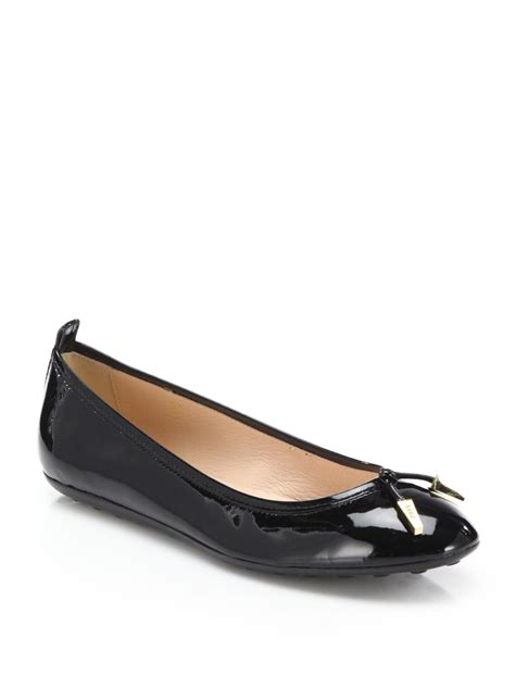 Flat Shoes Tods 4706 tod s patent leather ballet flats in black lyst