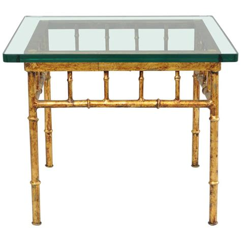 gold bamboo table l italian gold gilt iron and glass faux bamboo metal square