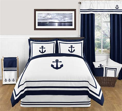 nautical bed sheets anchors away comforter set 3 piece full queen size by sweet jojo designs blanket