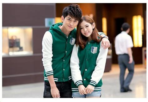 Anime Jaket Attack On Titan Varsity anime costume for couples attack on titan green jacket