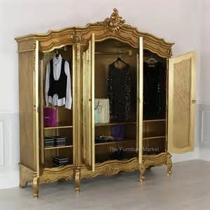 Door Armoire Gold Leaf 4 Door Mirrored Armoire