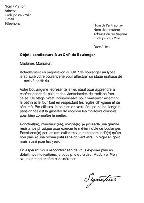 Lettre De Motivation Vendeuse En Boulangerie Patisserie Lettre De Motivation Cap Boulanger Mod 232 Le De Lettre