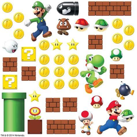 mario bros stickers wall mario bricks coins 45 big wall luigi nintendo decals room decor stickers e ebay