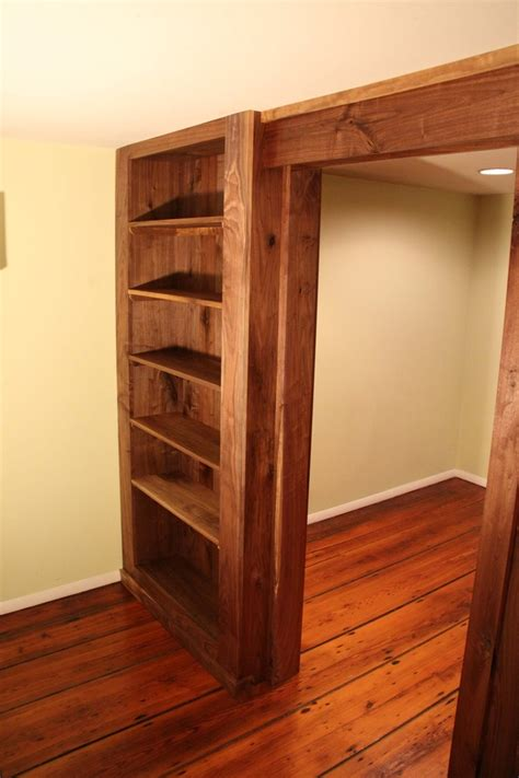 walnut bookcase wall and door for the home