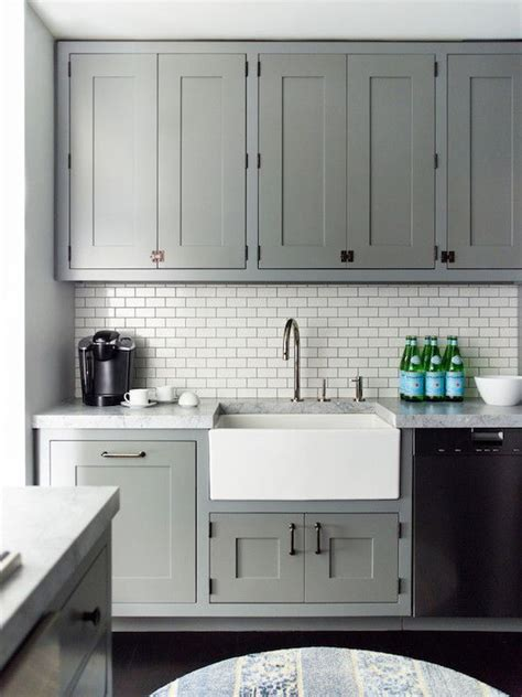 kitchen subway tile ideas gray recessed panel cabinets white subway tile backsplash