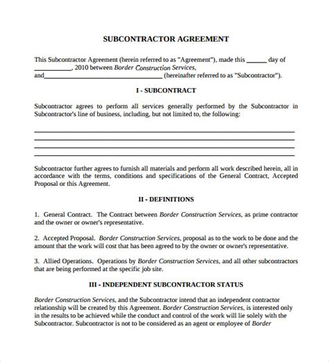 subcontractors agreement template sle subcontractor agreement 14 documents in pdf word