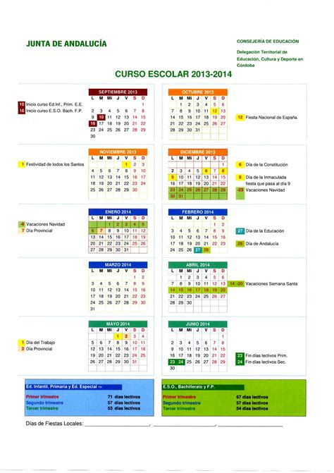 c 243 rdoba en 10 minutos calendario escolar 2013 14