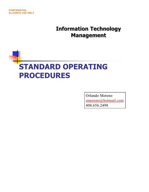 information technology procedure template standard operating procedures
