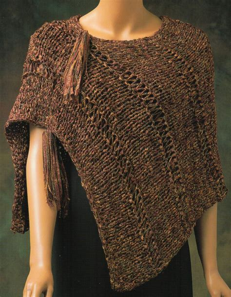 knitting patterns womens poncho asymmetrical tassle ribbon cape poncho knitting pattern womens