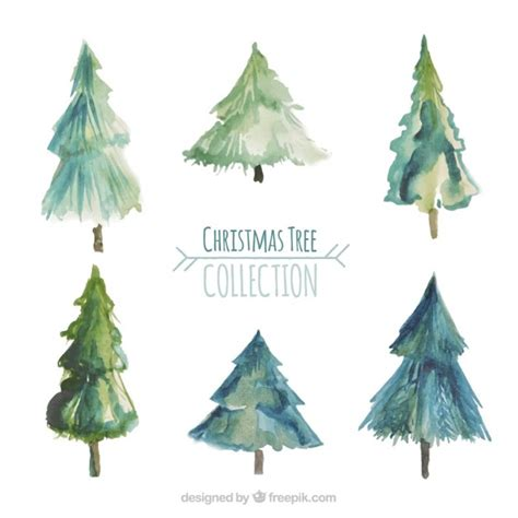 watercolor christmas tree collection vector free download