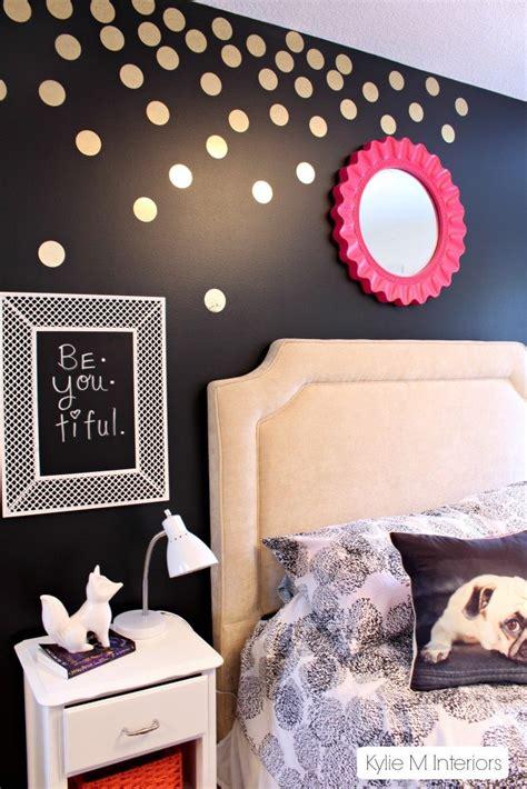 gold polka dot decals  black feature wall  tween