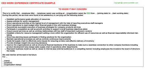 Experience Letter Responsibilities Ceo Work Experience Certificate