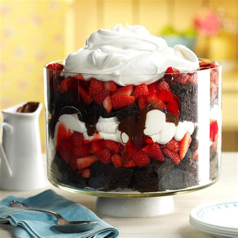 Chocolate Strawberry chocolate strawberry punch bowl trifle recipe taste of home