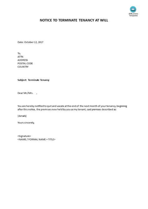 notice terminate tenancy landlord