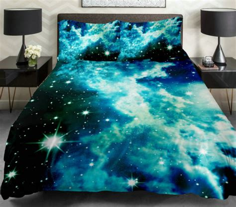 galaxy bedroom tumblr home accessory bedding galaxy print blue blue bed bed set comforter sheets blanket
