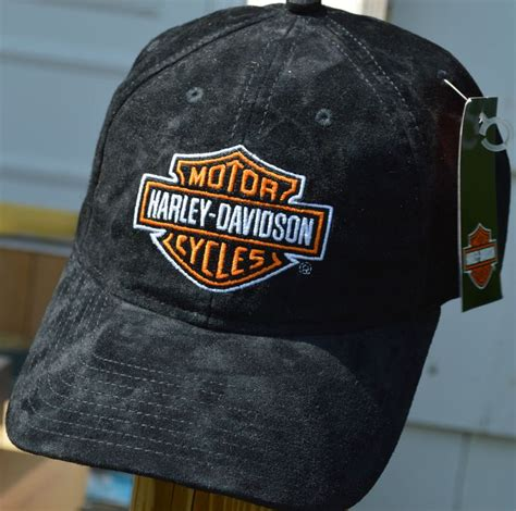 Harley Davidson Hats For Sale by Harley Davidson Black Suede Leather Baseball Hat New With