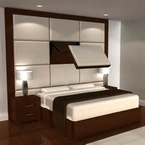 modern bedroom design with wall mounted upholstered