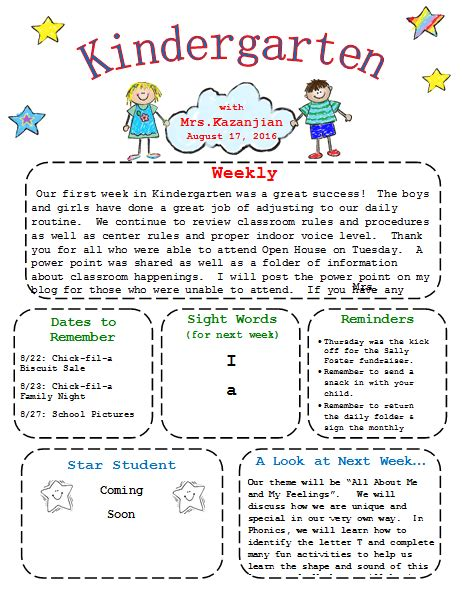 Printable Kindergarten Newsletter Template Templates In 2018 Pinterest Newsletter Preschool Weekly Newsletter Template