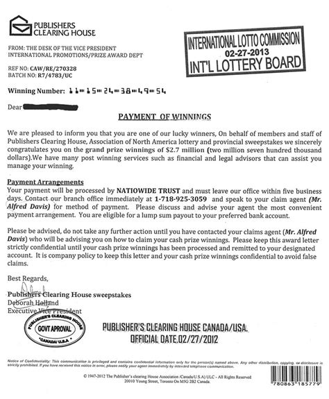Publishers Clearing House Global Sweepstakes Email Lottery - phony sweepstakes letter says winner gets 2 7 million