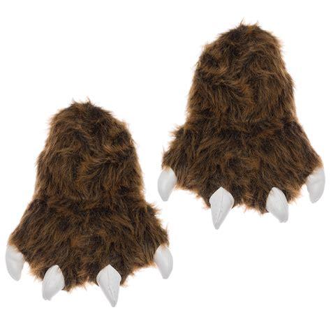 grizzly paw slippers wishpets brown grizzly animal paw plush fuzzy