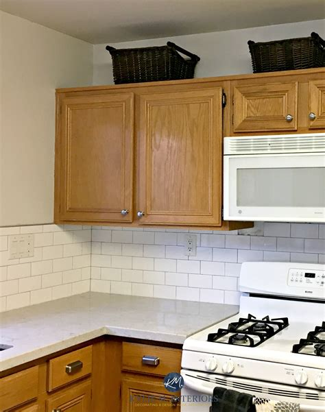 what color subway tile with oak cabinets benjamin moore classic gray in a kitchen with oak wood
