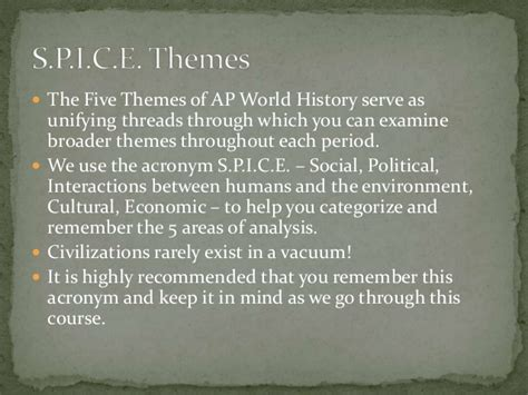 5 themes of geography acronym 5 themes of ap world history