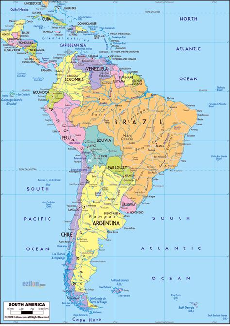 america map large large detailed political map of south america with roads