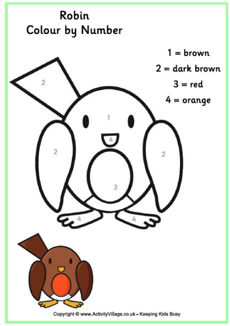 what color is a robin robin colour by numbers