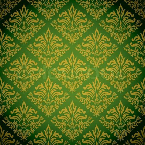 Vintage Home Design Plans by Green And Gold Background With A Seamless Repeat Design