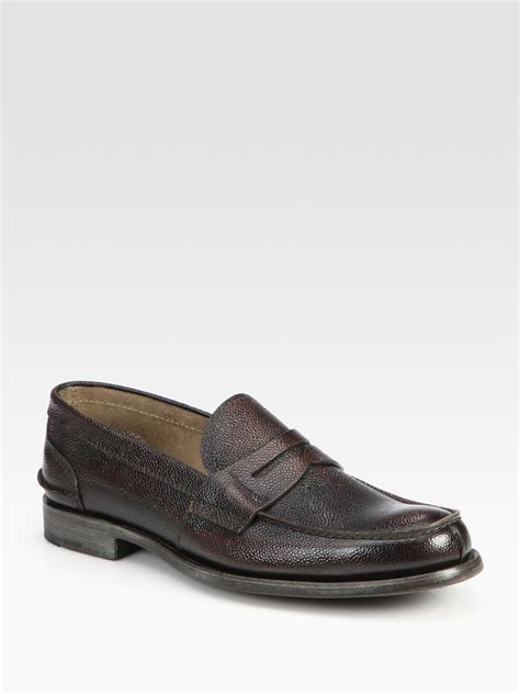 prada loafers prada pebbled spazzolato loafer in brown for lyst