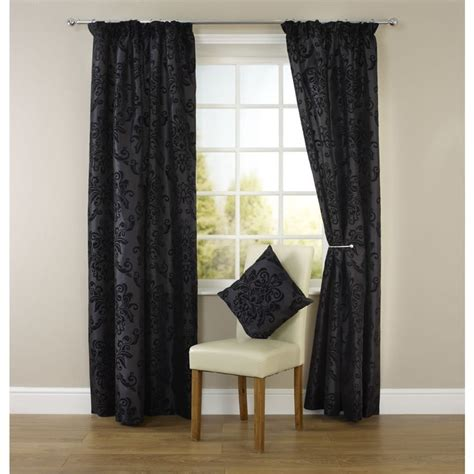 black patterned eyelet curtains wilko pencil pleat damask curtains black 228cm x 228m at