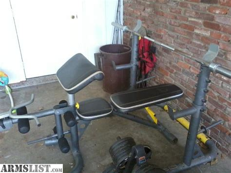 gym bench and weights for sale armslist for sale golds gym weight bench with 295