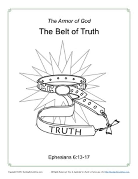 belt of truth coloring page armor of god for kids